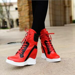 New Womens girls autumn platform wedge heels lace up ankle boots board sneaker