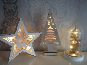 Christmas Star Tree Rudolph Light Up Wooden Dome Home Decorative