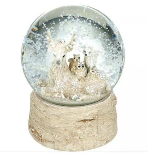 ASSIS Cerf avec des amis Snow Globe Bouleau base Noël Dôme Ornement