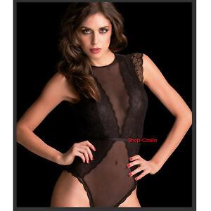 Biancheria Intima E Da Notte Abbigliamento E Accessori Body Nero Pizzo Trasparente Tulle Sexy Donna Top Maglia Maglietta Elegante Canot