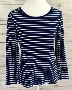 New-Directions-Top-Womens-Medium-M-Blue-Striped-Long-Sleeve-Stretch-100-Cotton