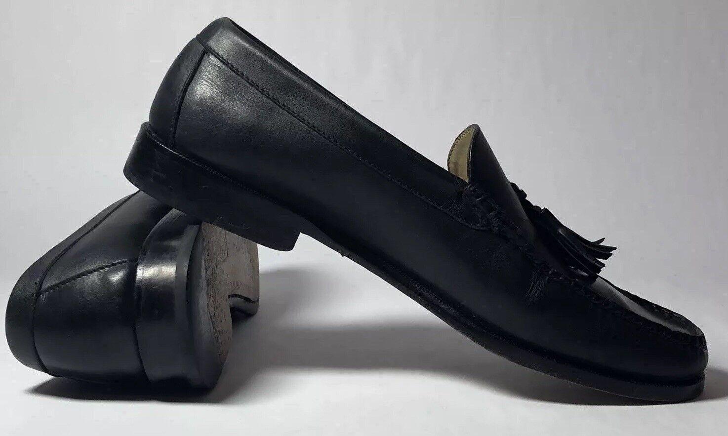 COLE HAAN Men's Black Leather Pinch Tassel Loafers 02573 Slip On Dress shoes 11 D