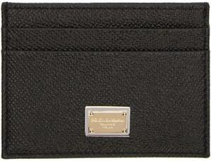 190cddbad99 NEW DOLCE & GABBANA BLACK CAVIAR LEATHER LOGO CARD CASE ID WALLET | eBay