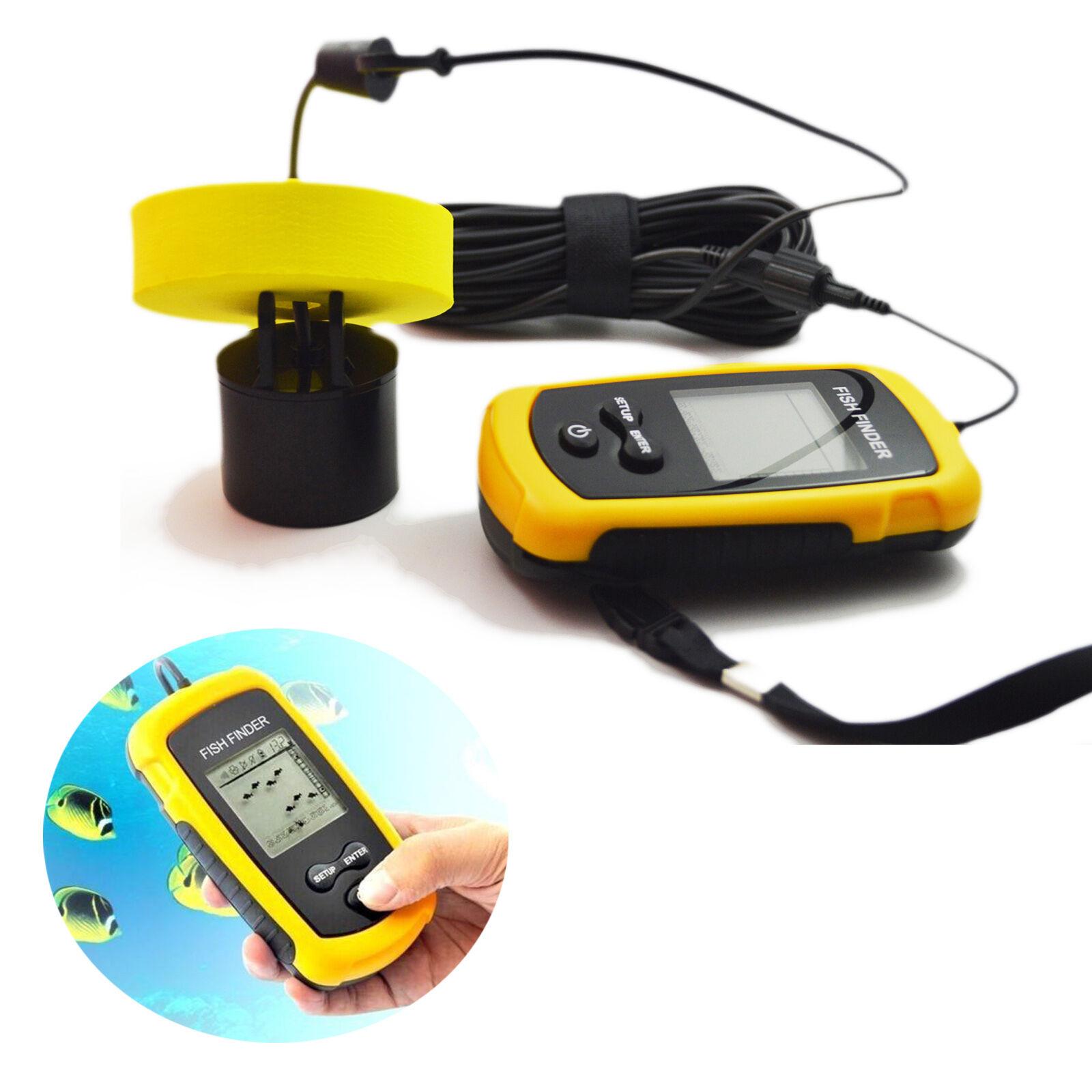 LCD Portable Boat Fish Finder Outdoor Fishing Tool Sonar Sensor 100m Depth