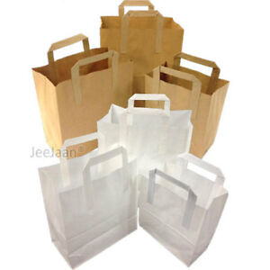 WHITE & BROWN KRAFT PAPER SOS FOOD CARRIER BAGS WITH HANDLE PARTY TAKEAWAY ETC