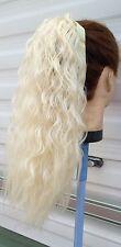 LUCE Bionda Ondulata Ricci Capelli Crespi Puffy Pony Coda Pezzo di estensione dei capelli