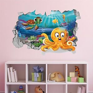 hole in the wall 3d wall decal cartoon sea turtle animals kids