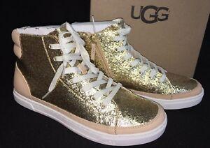 Image is loading UGG-Australia-Gold-GRADIE-GLITTER-LEATHER-SNEAKER-ANKLE-