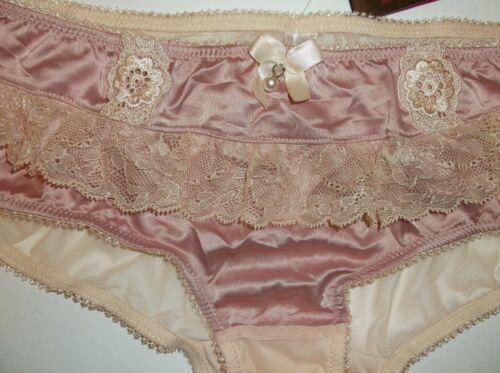 Bnwt La Senza Shorts 8 10 12 16 18 Pink Satin Ivory Lace Pearl Drop Bows