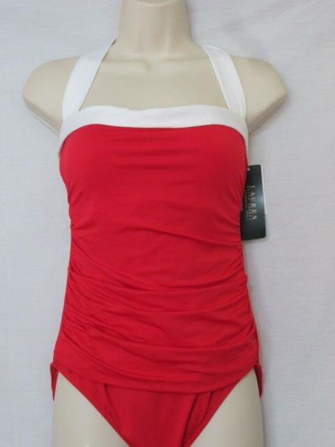 a98ceaabd0397 Ralph Lauren Red Ruched Slimming Halter Top Padded Cups Swimsuit Sz ...