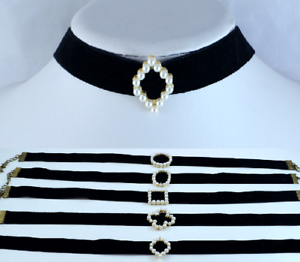BLACK-VELVET-RIBBON-WITH-GOLD-TONE-METAL-FAUX-PEARL-CENTRE-CHOKER-NECKLACE