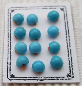 Antik:12 Glas Perlen-knöpfe Ø 3,5mm H/blau Kauf-modeladen Kleidung Um 1900
