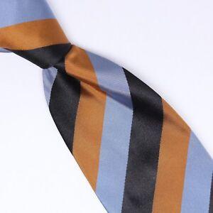 Gladson-Mens-Silk-Necktie-Blue-Black-Brown-Repp-Stripe-Weave-Woven-Tie-Italy