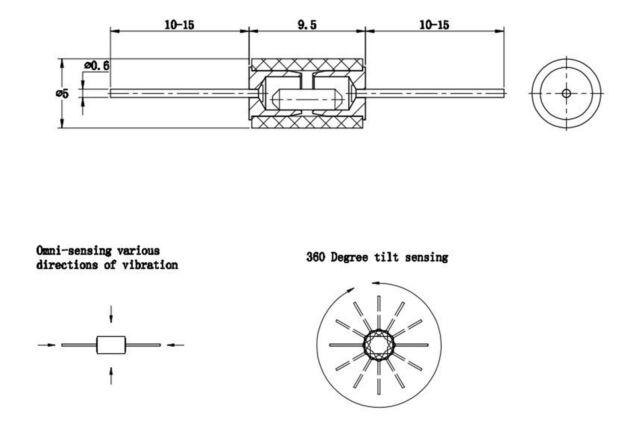 5 x SW-420 HDX-2 Normally Closed Vibration Sensor Switch Shaking Tilt SW420 5Pcs