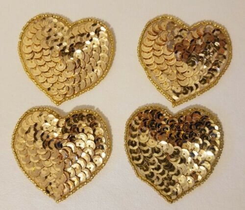"""Lot of 4 Vintage 2/"""" Small Gold Heart Beaded Sequined Appliques Sew On Crafts"""