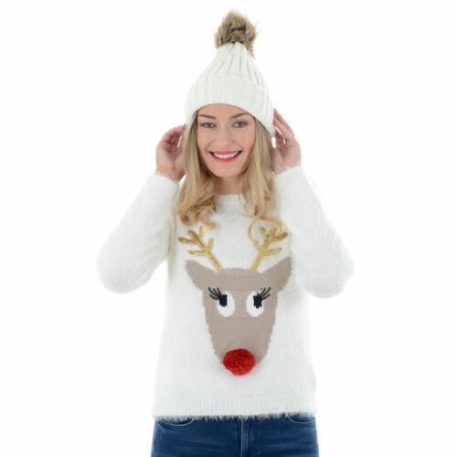 Ladies Womens Novelty Funny Rudolph Reindeer 3D Fluffy Christmas Jumper Sweater