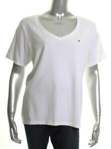 New Women s Tommy Hilfiger Plus Size Cotton V-Neck T-Shirt White 1X ... 3127d3655f9d5