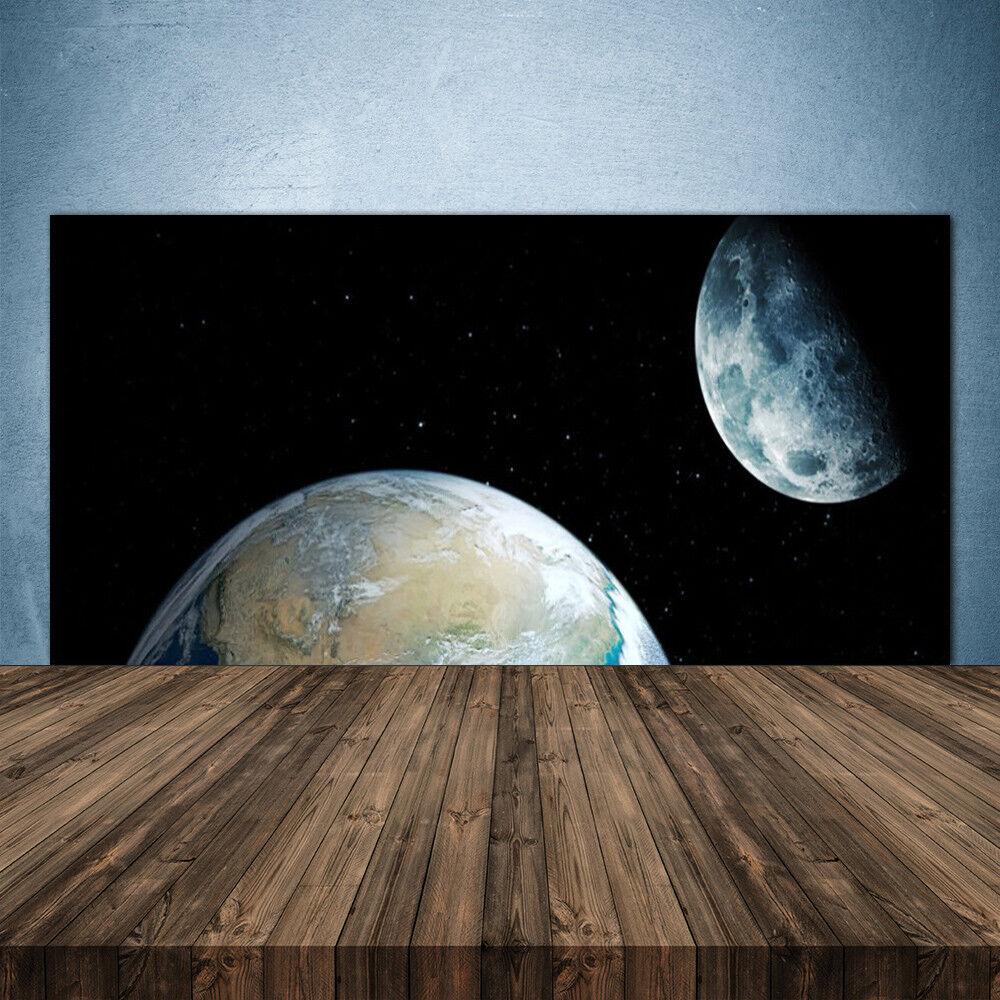 Crédence de cuisine en verre Panneau 140x70 Univers Lune Terre Univers