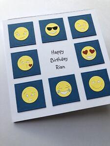 Personalised Handmade Birthday Card Kids Child Childrens Emoji