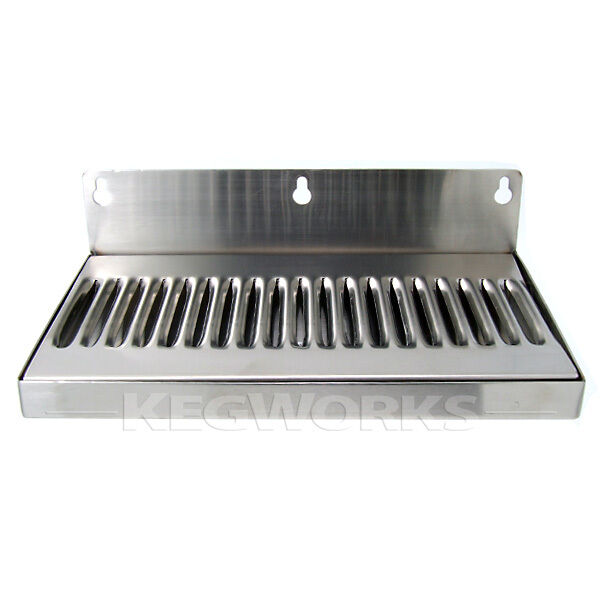 10 In Draft Beer Wall Mount Drip Tray Stainless Steel No
