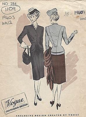 1940s WW2 Vintage VOGUE Sewing Pattern B34 SUIT-JACKET & SKIRT (1109)