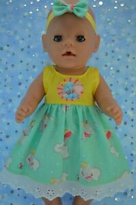 Play-n-Wear-Dolls-Clothes-To-Fit-17-034-Baby-Born-PLAIN-PATTERN-DRESS-HEADBAND