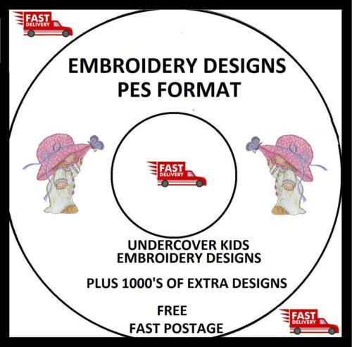 Undercover Niños Embroidery designs PES Formato comprar 2 Cds /& obtener Gratis Fuente CD