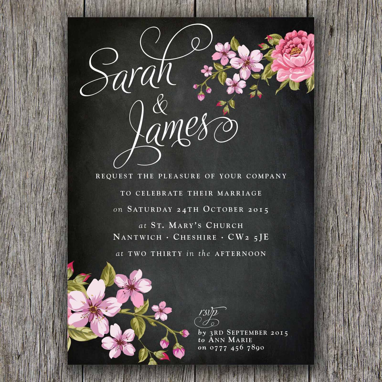 A6 CHALKBOARD STYLE PERSONALISED WEDDING EVENING INVITATIONS, FREE ENVELOPES