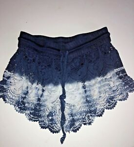 Indigo-Rein-Knit-Lace-Indigo-Blue-White-Drawstring-Shorts-Juniors-Size-S-0-2-4