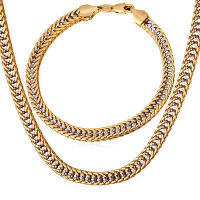 18K Two Tone Gold Plated Franco Chain Necklace Bracelet Set Jewelry Gift for Men