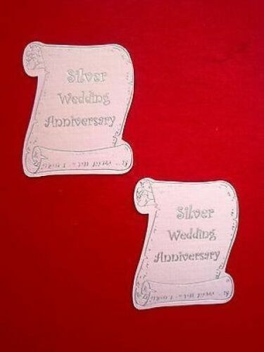 white Card silver foil printed 1594 8 SILVER WEDDING ANNIVERSARY SCROLLS
