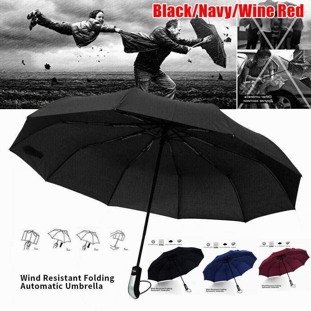 Windproof 10 Ribs Strong Automatic Open Close Umbrella Folding Compact Travel