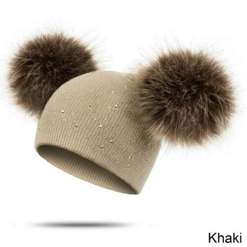 Kids Baby Winter Warm Hat Knit Wool Dual Hairball Cap Beanie Toddler Cute Hats