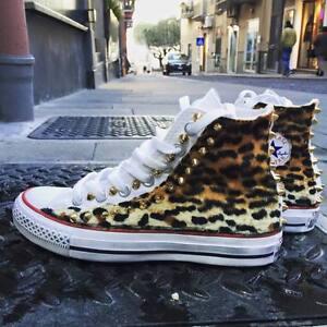 Converse All personalizzate con tessuto leopard borchie oro punta effetto sporco