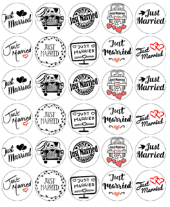 30 x just married wedding cupcake toppers edible wafer paper fairy image is loading 30 x just married wedding cupcake toppers edible junglespirit Choice Image