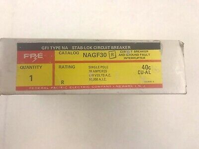 1P NAGF30 Federal Pacific Ground Fault Protection 120V New In Box 1PH 30A