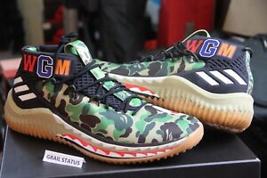 best website acec6 9f83f Image is loading Adidas-Dame-4-Bape-Green-Camo-Gum-All-