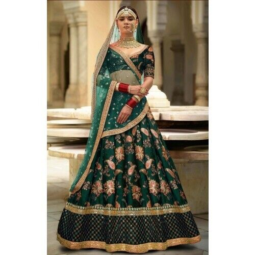 Green Silk Lehanga Choli Indian Designer Party Wear Embroidery Sari Lengha Set