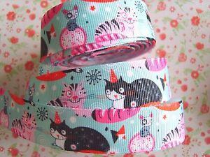 1 M X Mignon Chat Gros-grain Ribbon Craft Fête Gâteau Cheveux Nœud Emballage Cadeau 22 Mm-afficher Le Titre D'origine Peut êTre à Plusieurs Reprises Replié.