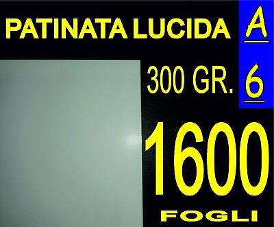 1600 Fogli A6 Carta Patinata Lucida Stampanti Laser Inviti Compleanno 300 Gr