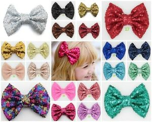 4-Inch-Large-sequin-Glitter-Sparkle-Novelty-Bow-Hair-Clip-Alligator-Clips