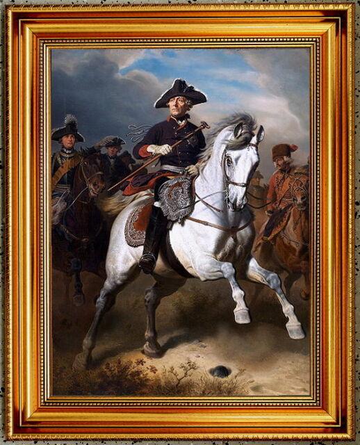 Friedrich der Große. Großer Kunstdruck n. Camphausen, im Prunkrahmen
