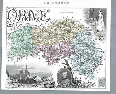 Alte Landkarte Frankreich Illustriert - Orne Klar Und Unverwechselbar