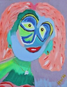 034-Blue-Face-034-Original-acrylic-on-streteched-canvas-14-X-11-In-by-H-W-Hallman