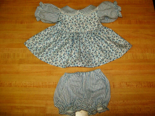 """BLUE WINDOWPANE CHECK+FLOWER CALICO DRESS+PANTY for 16/"""" CPK Cabbage Patch Kids"""
