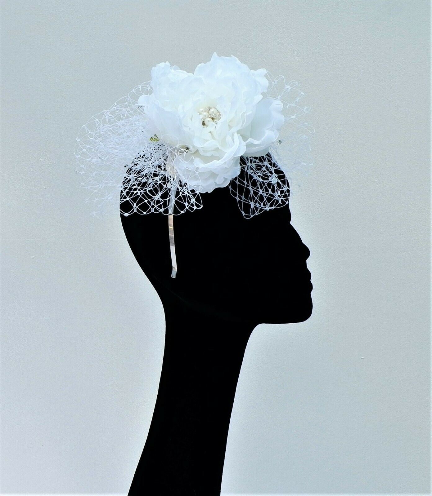 Willow - White SIngle Peonie Bridal Fascinator BY HATS2GO