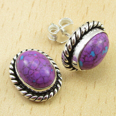 925 Silver Plated PURPLE COPPER TURQUOISE Stud Earrings 1/2 Inches BRAND NEW