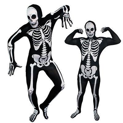 Full Body Black/White Spooky Skeleton Lycra Zentai Suit Halloween Party Costume