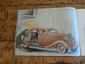 FANTASTIC Vintage 1935 Ford Automobile Brochure DeLuxe Fordor and Tudor Sedans