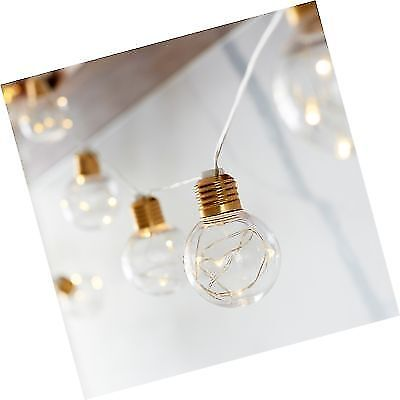 10 G60 Bulb Battery Operated LED Globe Lights With Brass